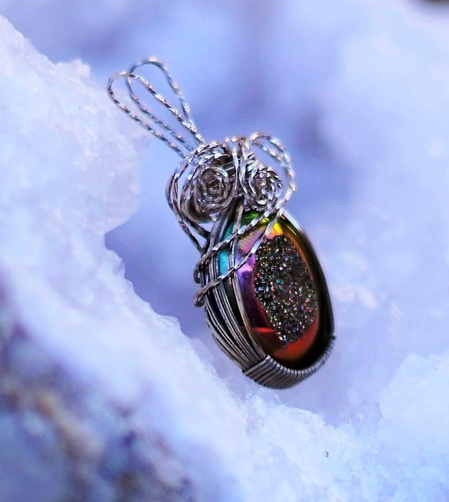 Glowing Titanium Druzy Pendant for Inner Light, Healing, & Relaxation