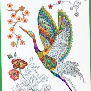 I Am ABUNDANT Crane coloring design, including sacred geometry and other powerful, hidden symbols for prosperity and manifestation.