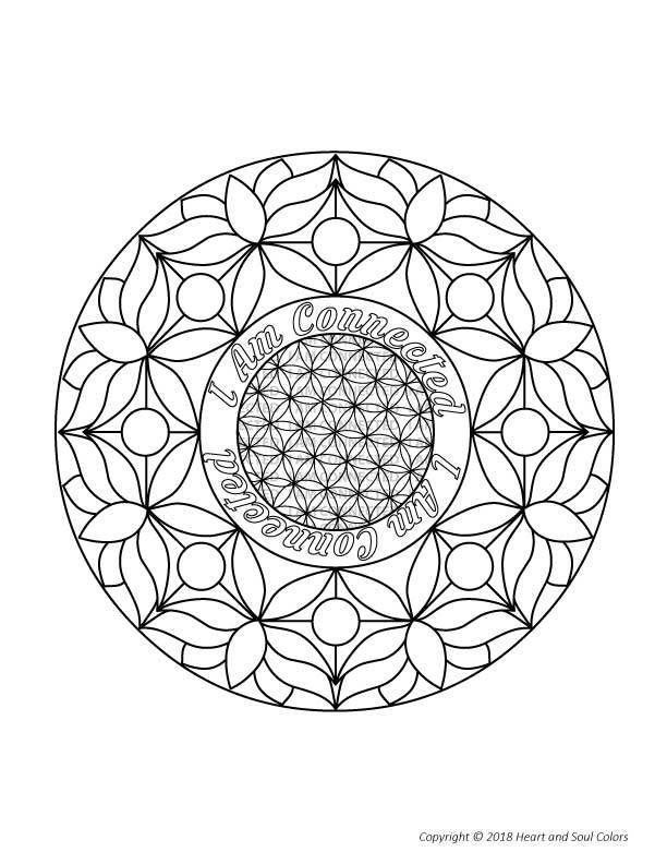 Color in your own special I Am CONNECTED Flower of Life mandala.