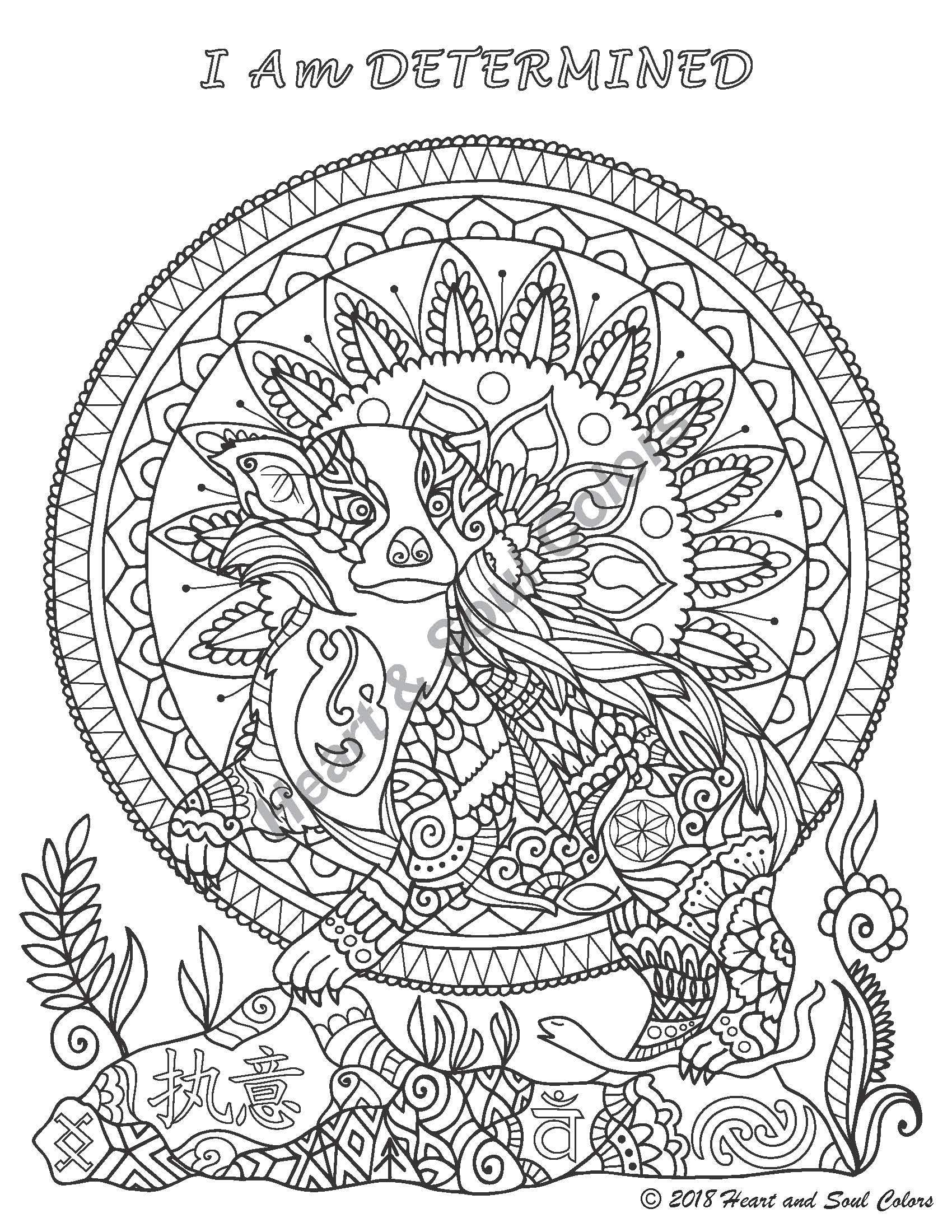 I Am DETERMINED Badger spiritual coloring design, including sacred geometry and powerful, hidden symbols