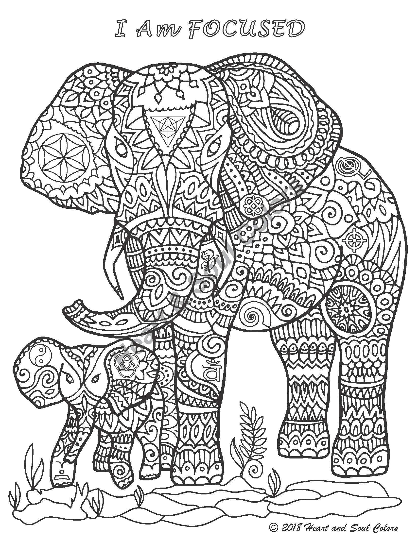 I Am FOCUSED Elephant coloring design, including sacred geometry and many other powerful, hidden symbols.