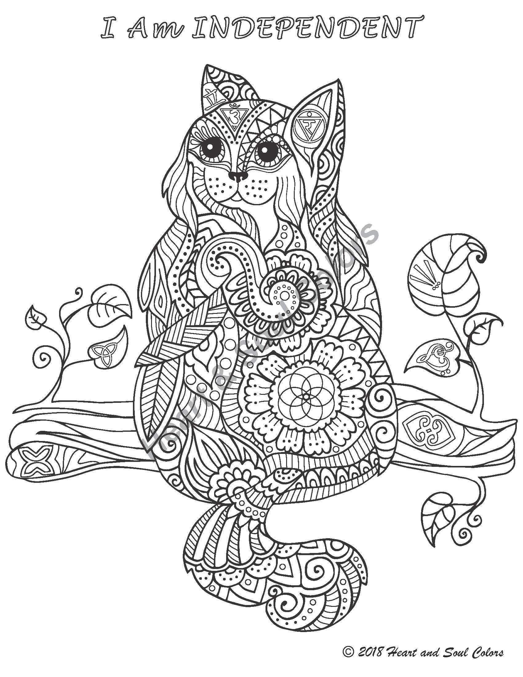I Am INDEPENDENT Cat, coloring design including sacred geometry and many powerful, hidden symbols