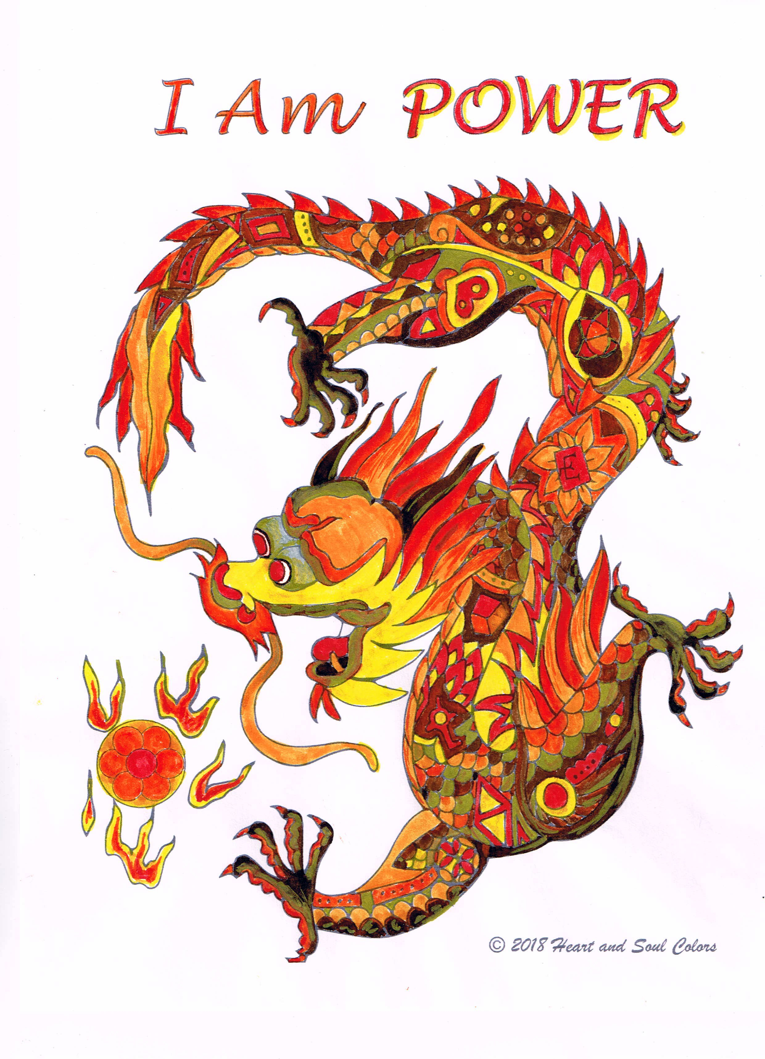 I Am POWER Dragon Coloring Design, including sacred geometry and other powerful, hidden symbols.