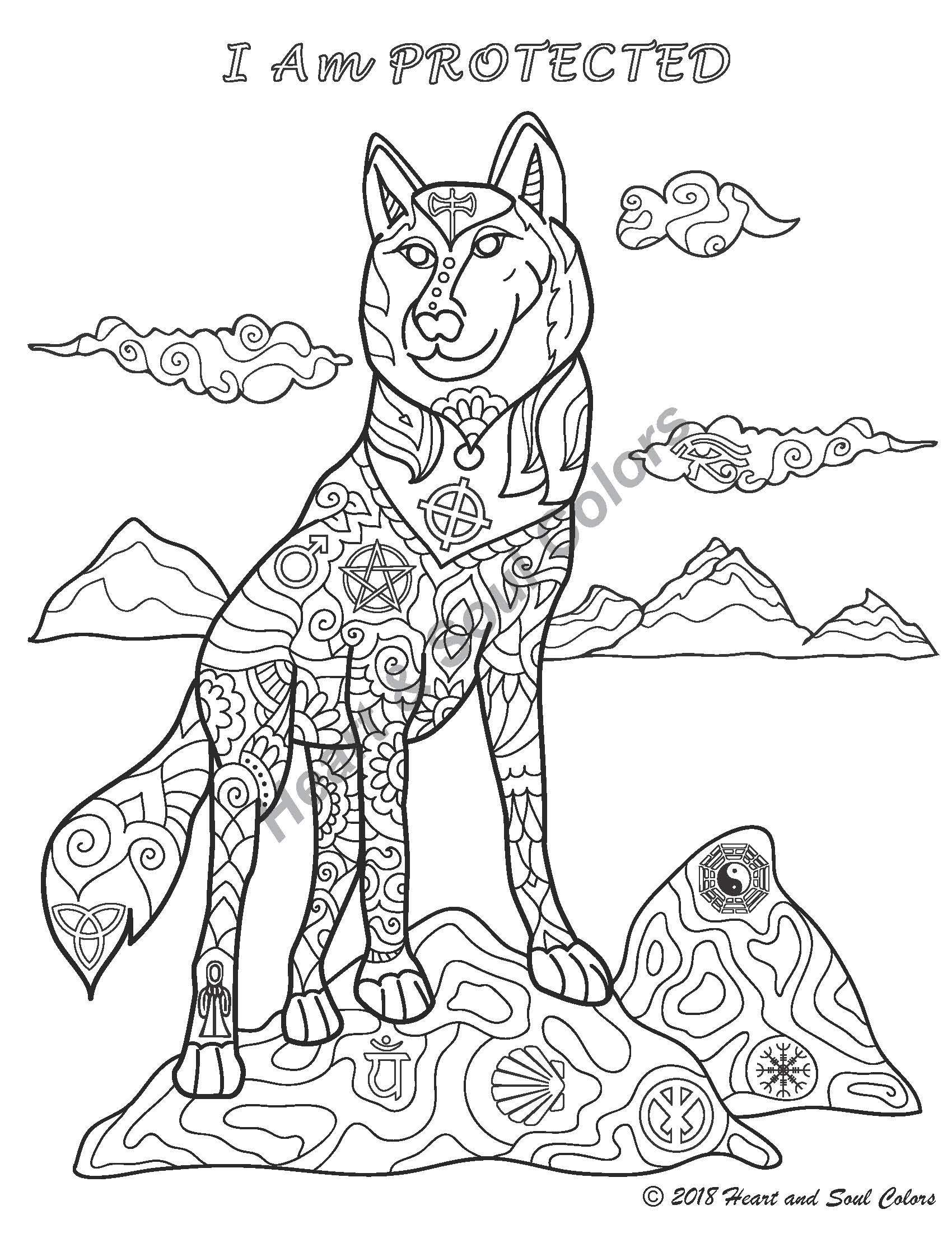 I Am PROTECTED Wolf coloring design for knowing that you are always safe embraced by Spirit and the universe. This special design includes sacred geometry and many other powerful, hidden symbols.