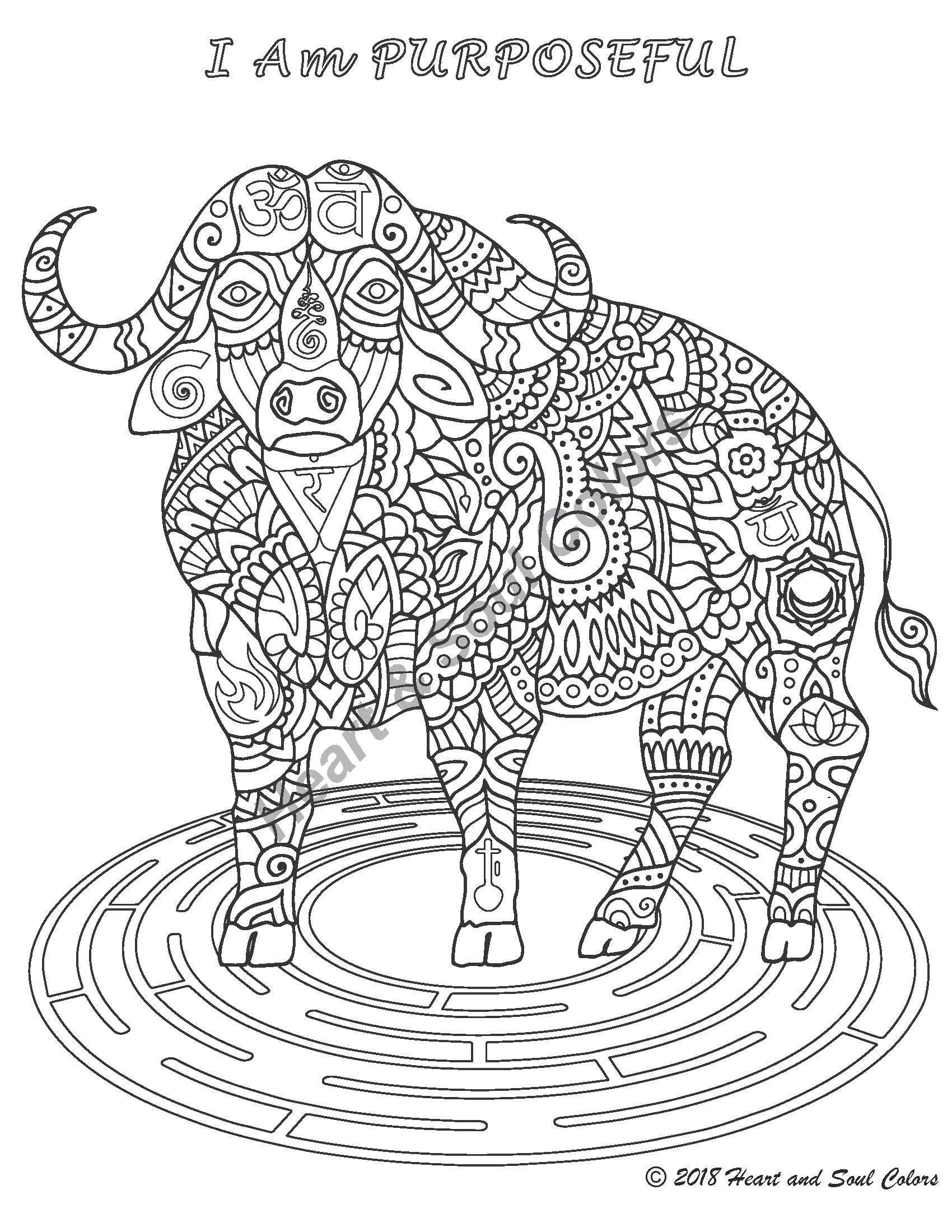 I Am PURPOSEFUL Buffalo coloring design for being in the flow of living our life purpose