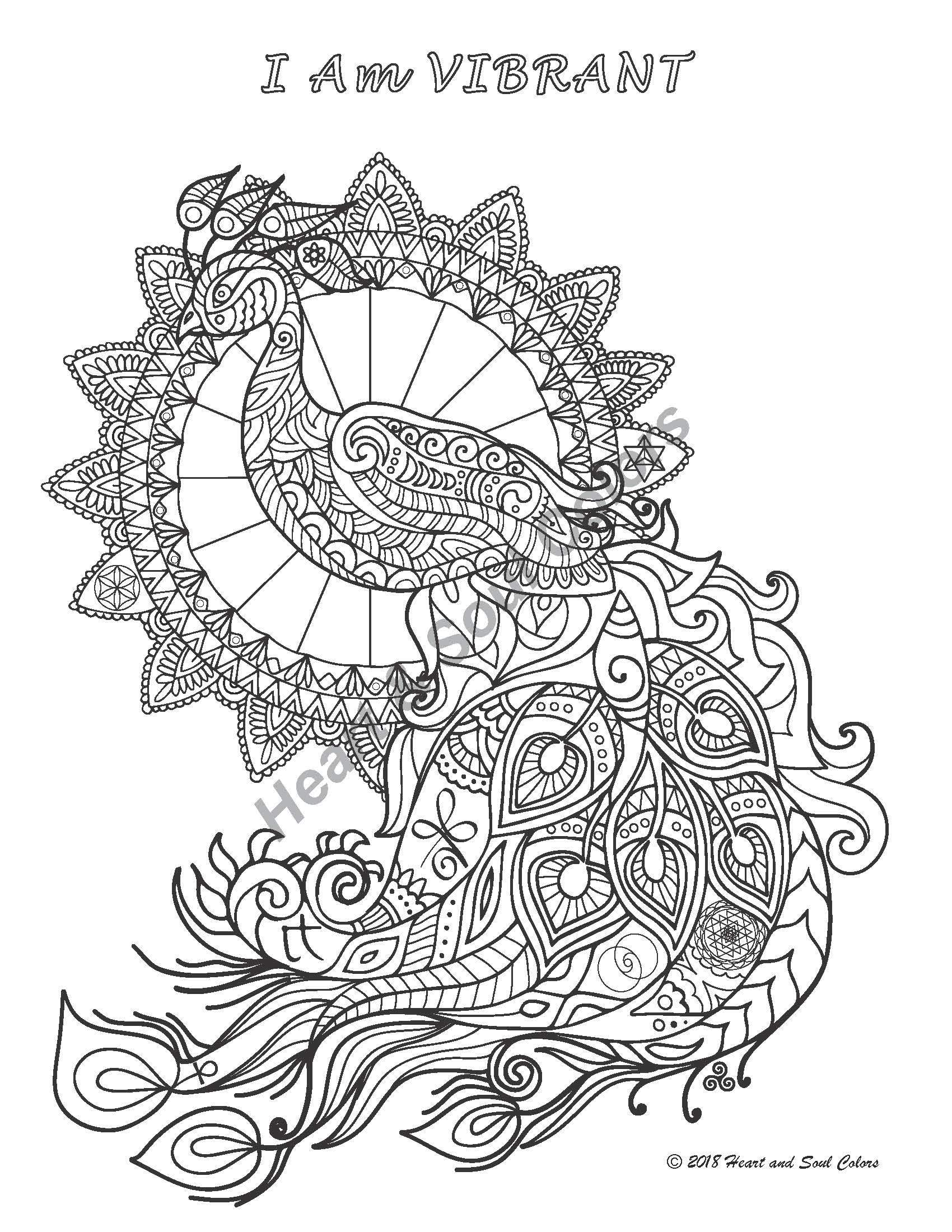 I Am VIBRANT Peacock enlivens you with zest, energy, and power. This special coloring design includes sacred geometry and many other powerful, hidden symbols.