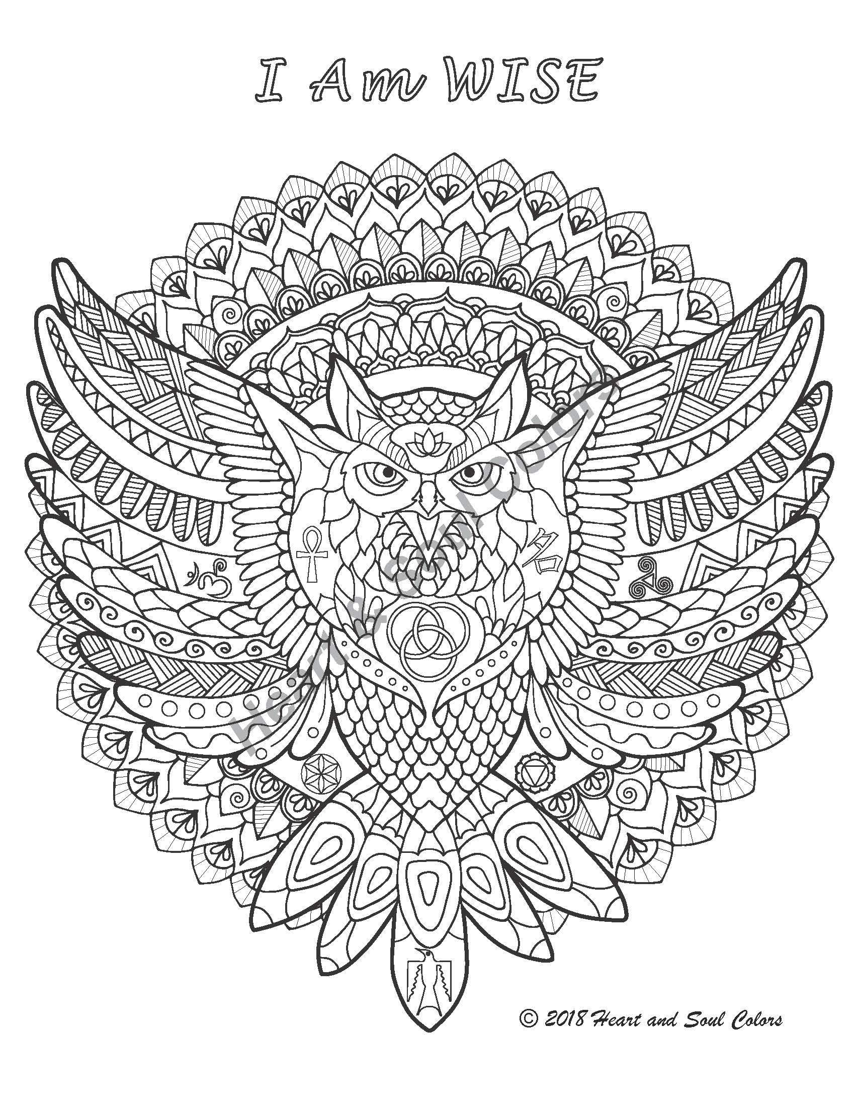 This special I Am WISE Owl coloring sheet reminds you of your innate wisdom and knowingness. Including sacred geometry and many other powerful hidden symbols.