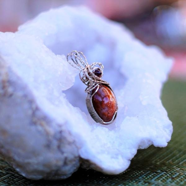 Joyful and Loving Sparkly Sunstone & Garnet Pendant