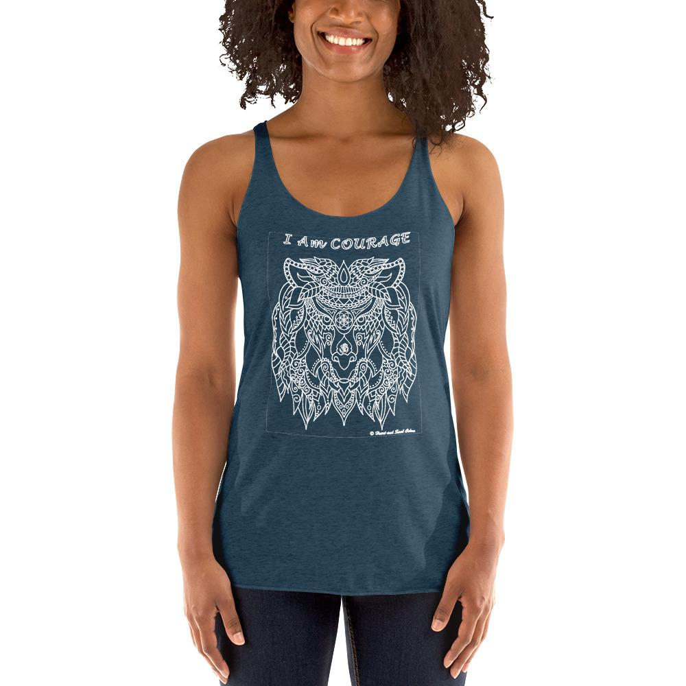 Be your true courageous self with this stunning, flowing shirt! Enjoy the power and simplicity of this I Am COURAGE lion, blessed with Reiki energy and the high vibrations of many sacred symbols. This racerback tank is soft, lightweight, and form-fitting with a flattering cut and raw edge seams for an edgy touch.