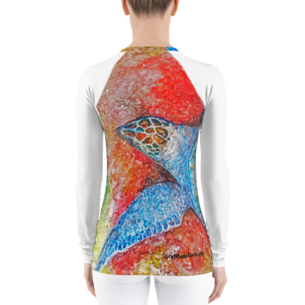 Turtle Watercolor Rash Guard (Back)