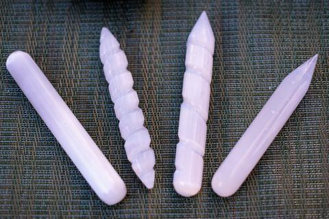 Selenite wands for energy clearing, meditation, chakra alignment, and aura cleansing